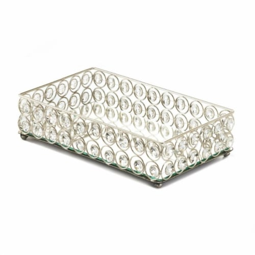 Accent Plus 10018950 Rectangular Crystal Bling Tray with Mirror Base Perspective: front