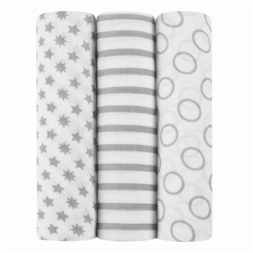 ideal baby Star Print Muslin Swaddle Blanket - 3 Pack - White/Gray Perspective: front