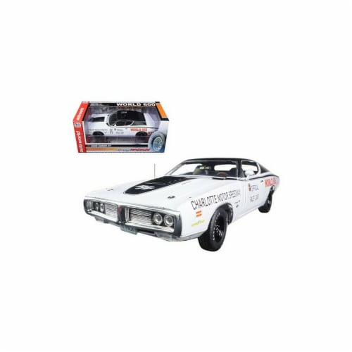 Autoworld AW223 1971 Dodge Charger White Charlotte Motor Speedway World 600 Pace Car Limited Perspective: front