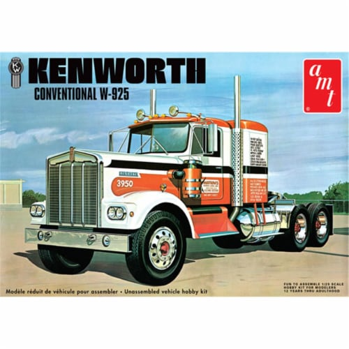 Skill 3 Model Kit Kenworth Conventional W-925 Tractor 1/25 Scale Model by AMT Perspective: front
