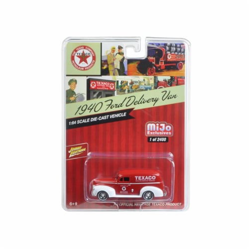 Johnny Lightning JLCP7013 1940 Ford Delivery Van Texaco Red 1 by 64 Diecast Model Car Perspective: front