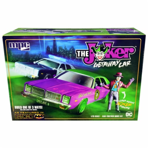 MPC MPC890 Skill 2 Model 1977 Dodge Monaco with Joker Resin Figurine Batman 3-in-1 Kit for 1 Perspective: front