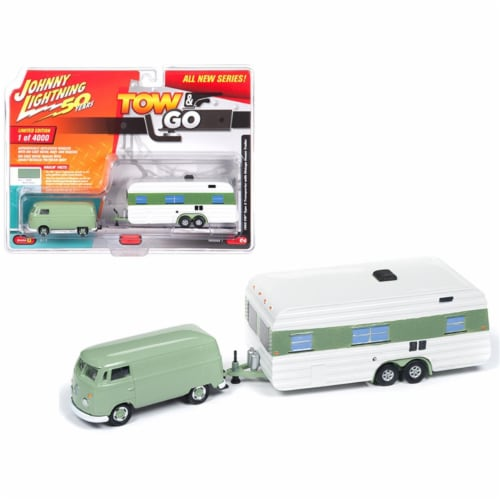 Johnny Lightning  1 by 64 Scale Diecast for 1965 Volkswagen Type 2 Transporter Birch Green wi Perspective: front