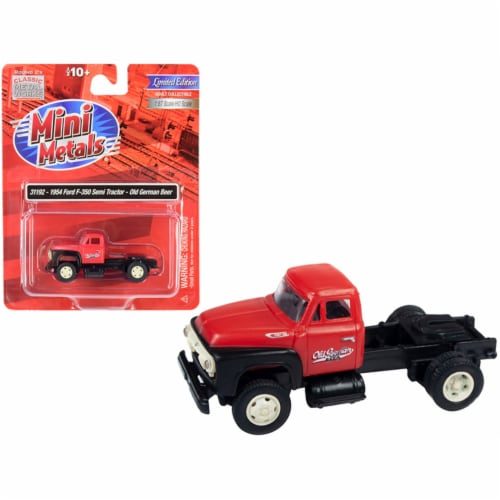 1954 Ford F-350 Semi Truck Tractor \Old German Beer\ Red and Black 1/87 (HO) Scale Model Perspective: front