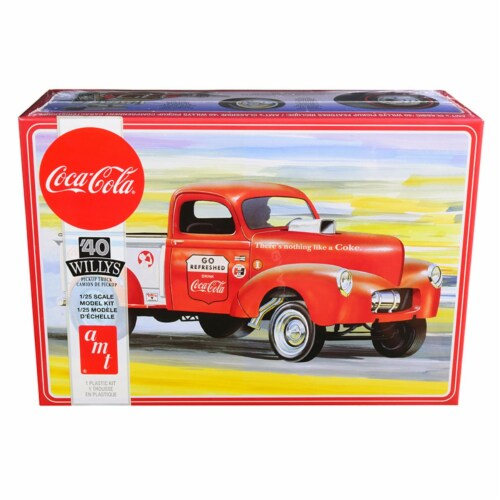 AMT AMT1145M Skill 3 Model Kit 1940 Willys Gasser Pickup Truck Coca-Cola 1 by 25 Scale Model Perspective: front