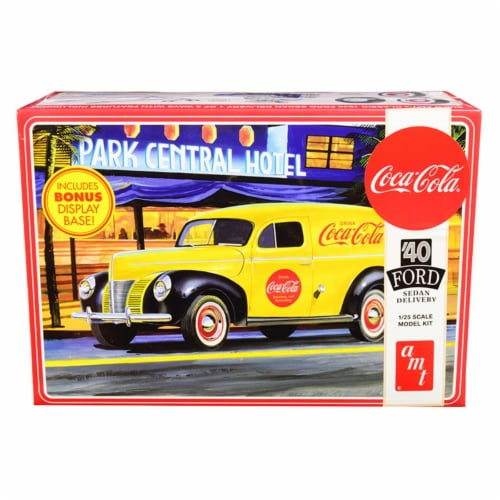 AMT AMT1161 Skill 3 Model Kit 1940 Ford Sedan Delivery Van Coca-Cola with Display Base 1 by 2 Perspective: front