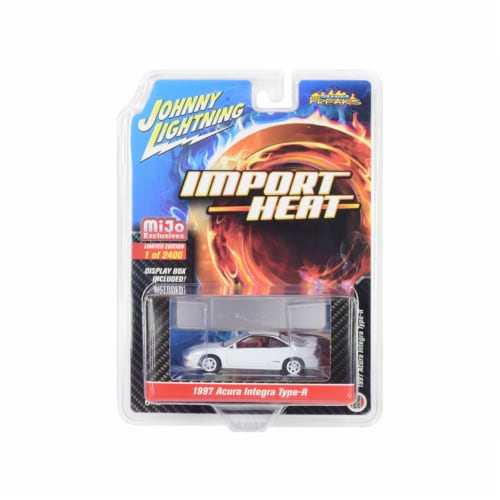 Johnny Lightning JLCP7252 1997 Acura Integra Type R White with Red Interior Import Heat Limit Perspective: front