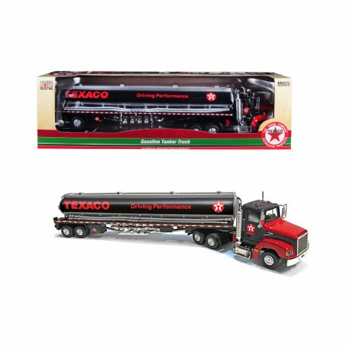 Autoworld CP7595 Texaco Gasoline Tanker Truck with Driving Performance 1 by 43 Diecast Model, Perspective: front