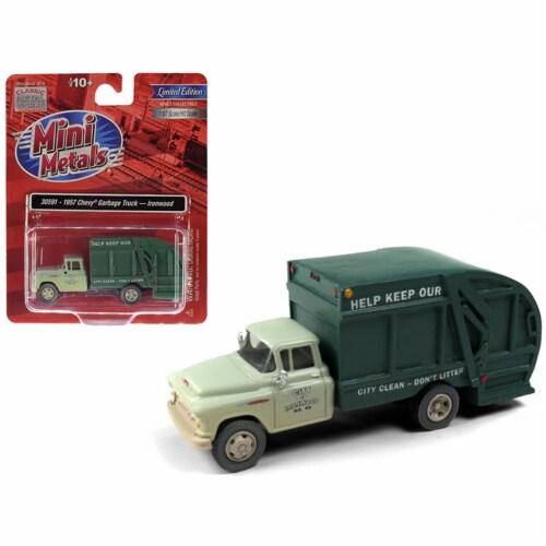 Classic Metal Works 30591 1957 Chevrolet Garbage Truck Ironwood Sanitation Light Green & Dark Perspective: front