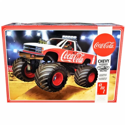AMT AMT1184M Skill 2 Model Chevrolet Silverado Monster Truck Coca-Cola Kit for 1 by 25 Scale Perspective: front