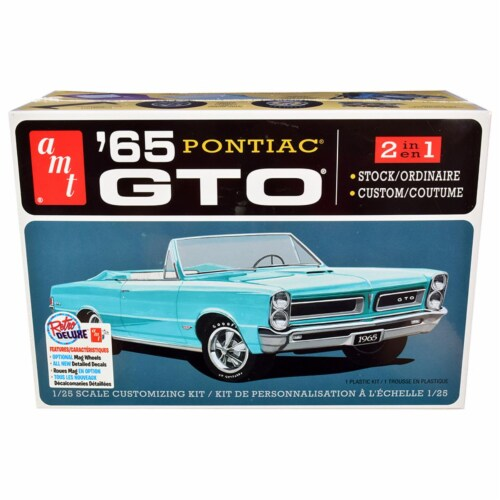 AMT AMT1191M Skill 2 Model 1965 Pontiac GTO 2-in-1 Kit for 1 by 25 Scale Model Perspective: front