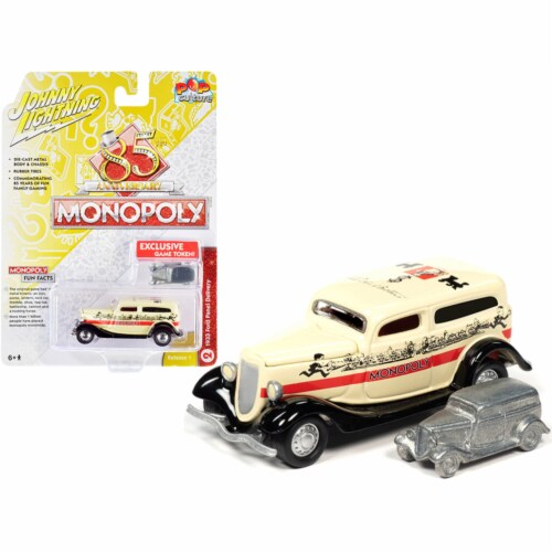 Johnny Lightning JLPC001-JLSP093 1933 Ford Panel Delivery Truck Yellow with Red Stripe & Game Perspective: front