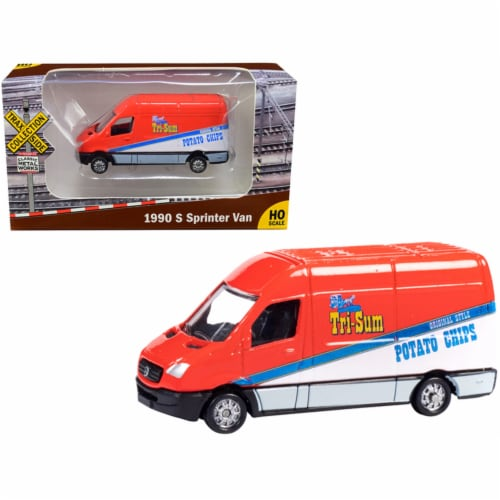 1990 Mercedes Benz Sprinter Van Red & White \Tri-Sum Potato Chips\\ TraxSide Collection\ Perspective: front