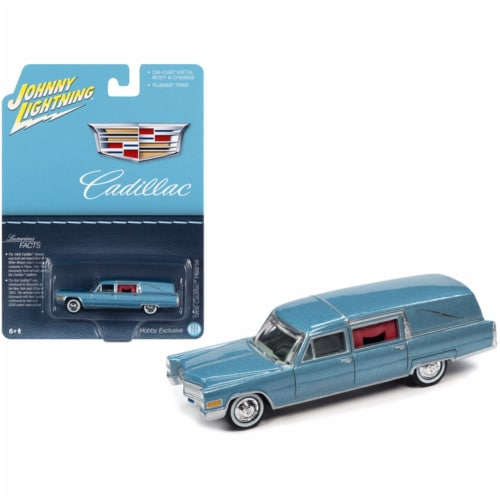 1966 Cadillac Hearse Light Blue Metallic \Special Edition\ by Johnny Lightning Perspective: front