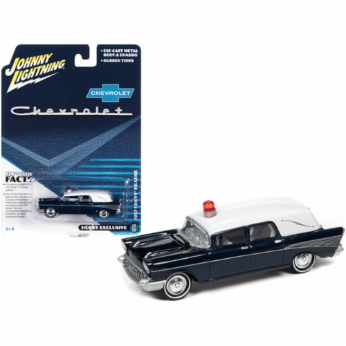 1957 Chevrolet Hearse Metisse Blue Metallic with White Top by Johnny Lightning Perspective: front