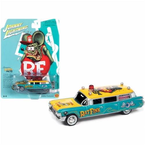 1959 Cadillac Ambulance \Rat Fink\ Turquoise & Yellow with Graphics by Johnny Lightning Perspective: front