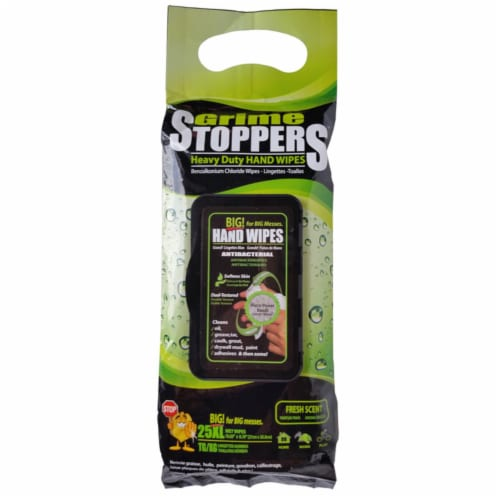 Grime Stoppers 1764679 Fresh Scent Antibacterial Heavy Duty Hand Wipes - Pack of 12 Perspective: front