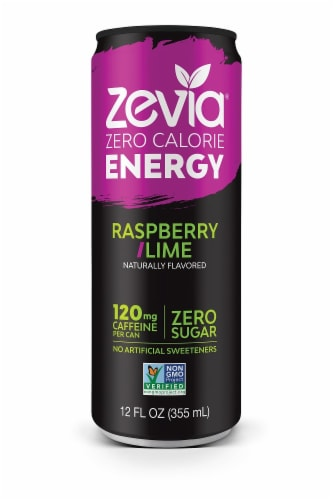 Zevia Zero Calorie Raspberry Lime Energy Drink Perspective: front