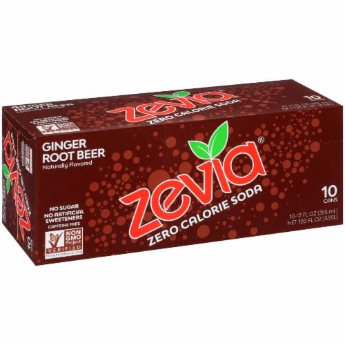 Zevia Ginger Root Beer Zero Calorie Soda Perspective: front