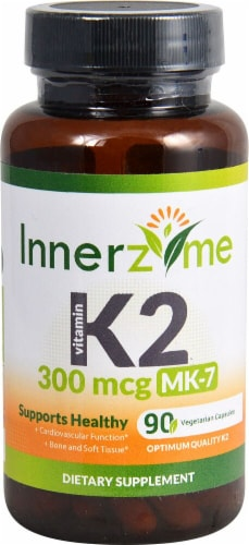 Innerzyme Vitamin K2 MK-7 Capsules 300mcg Perspective: front