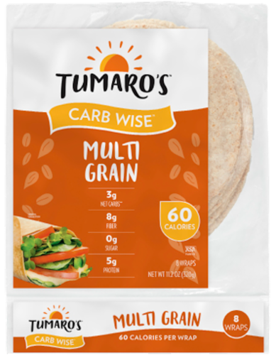 Tumaro's Low Carb Multi Grain Tortillas 8 Count Perspective: front