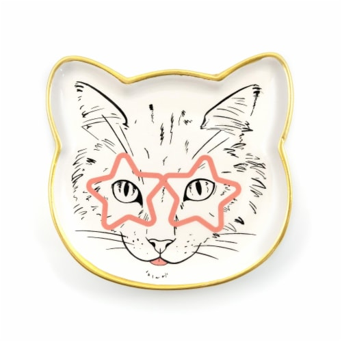 Cat Dish Plate | Small Ceramic Catchall Dish For Treats, Keys, Change, & More Perspective: front
