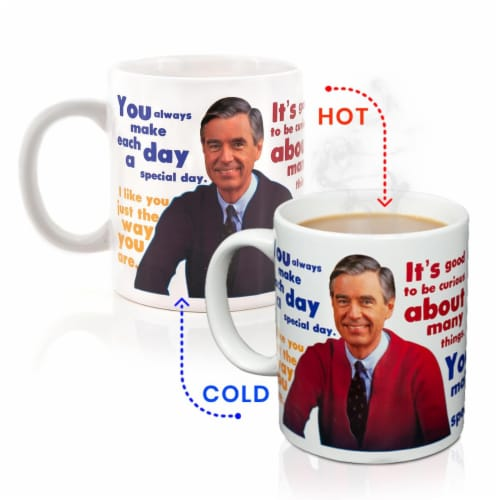 Mister Rogers Sweater Changing Mug | Sweater Changes With Heat | Holds 16 Ounces Perspective: front