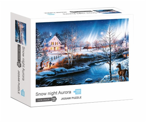 Snow Night Aurora 1000 Piece Jigsaw Puzzle Perspective: front