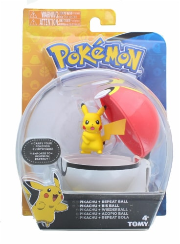 Pokemon Clip and Carry Poke Ball | 2 Inch Pikachu and Repeater Ball Perspective: front