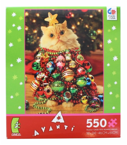 Ornament Kitty 550 Piece Christmas Jigsaw Puzzle Perspective: front