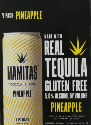 Mamitas Pineapple Tequila & Soda Sparkling Water Perspective: front