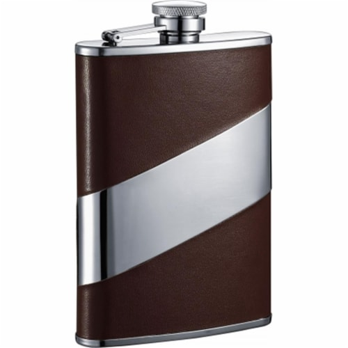 Visol VF2063 Visol Nathan Brown Leather Stainless Steel Hip Flask - 8oz Perspective: front