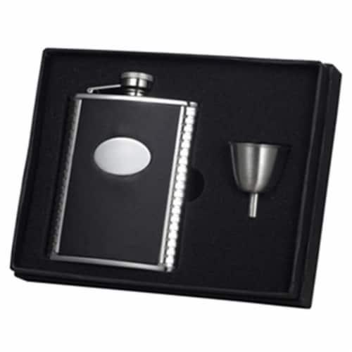 Visol Tux Ribbed Design Leather 6oz Flask Gift Set Perspective: front