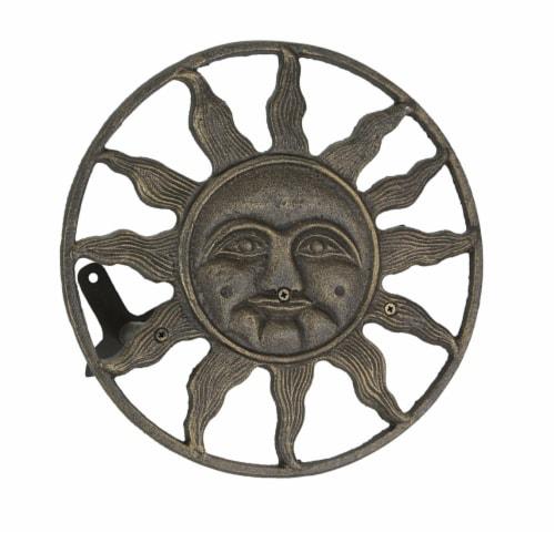 Cast Iron Sun Face Decorative Wall Mounted Hanging Garden Hose Holder Bronze - Sun Face Perspective: front