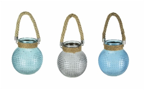 Set of 3 Hobnail Beaded Glass  Tealight Candle Lanterns with Rope Handles Perspective: front