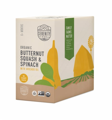 Serenity Kids Organic Butternut Squash & Spinach Baby Food Perspective: front