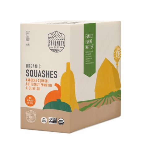 Serenity Kids Organic Squashes Baby Food Perspective: front
