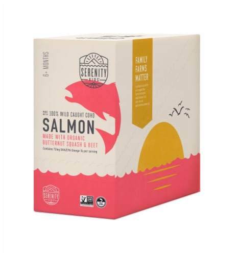 Serenity Kids Wild Caught Coho Salmon with Organic Butternut Squash and Beet Baby Food Pouches Perspective: front