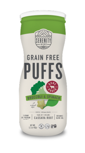 Serenity Kids Broccoli & Spinach Grain Free Puffs Perspective: front
