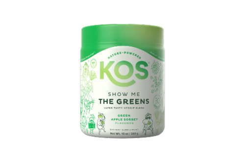 KOS Show Me The Greens Veggie Blend-Green Apple Sorbet Flavor Perspective: front