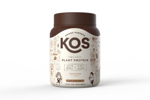 KOS Organic Chocolate Flavor Plant Protein Powder Perspective: front