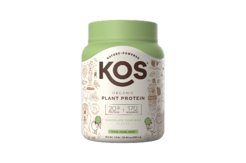 KOS Chocolate Chip Mint Flavor Plant Protein Powder Perspective: front