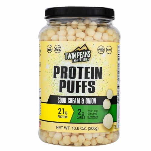 Twin Peaks Ingredients Sour Cream & Onion Protein Puffs Perspective: front