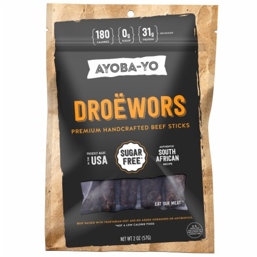 Ayoba-Yo Droewors Beef Sticks Perspective: front