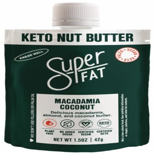 SuperFat Macadamia Coconut Keto Nut Butter Perspective: front