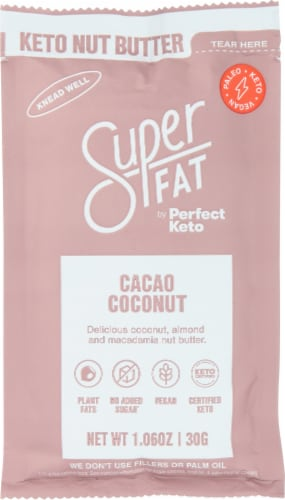 Super Fat by Perfect Keto Cacao Coconut Keto Nut Butter Perspective: front