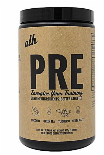 ATH Organics  PRE: Plant Based Pre Workout   Blue Raz Perspective: front