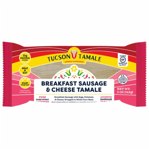 Tucson Tamale Breakfast Sausage & Cheese Tamale Perspective: front