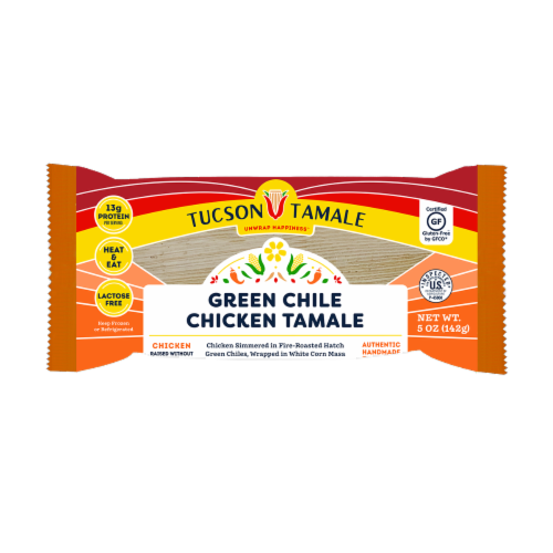 Tucson Tamale Green Chile Chicken Tamale Perspective: front