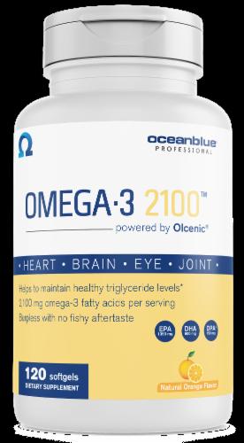 Oceanblue Professional Orange Flavor Omega-3 Softgels 2100mg Perspective: front